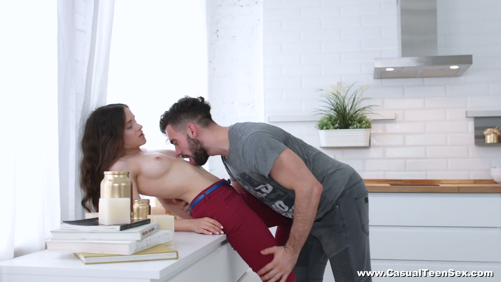 Charming girl Fox passionately rides fat cock right in the kitchen