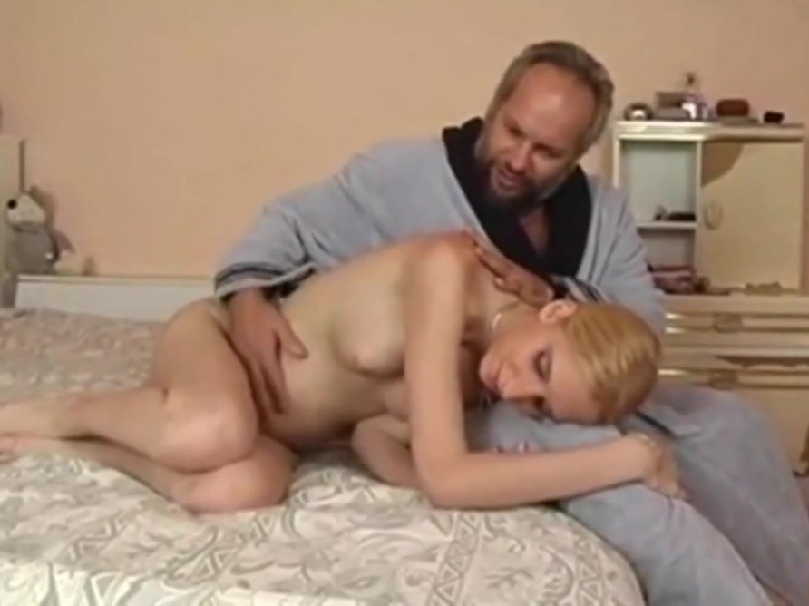 newly preggo young blonde girl shares body with two old men