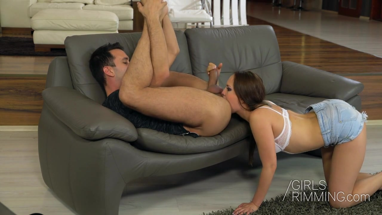 Gorgeous babe Blue Angel gives a wonderful blowjob and rimjob to her new lover