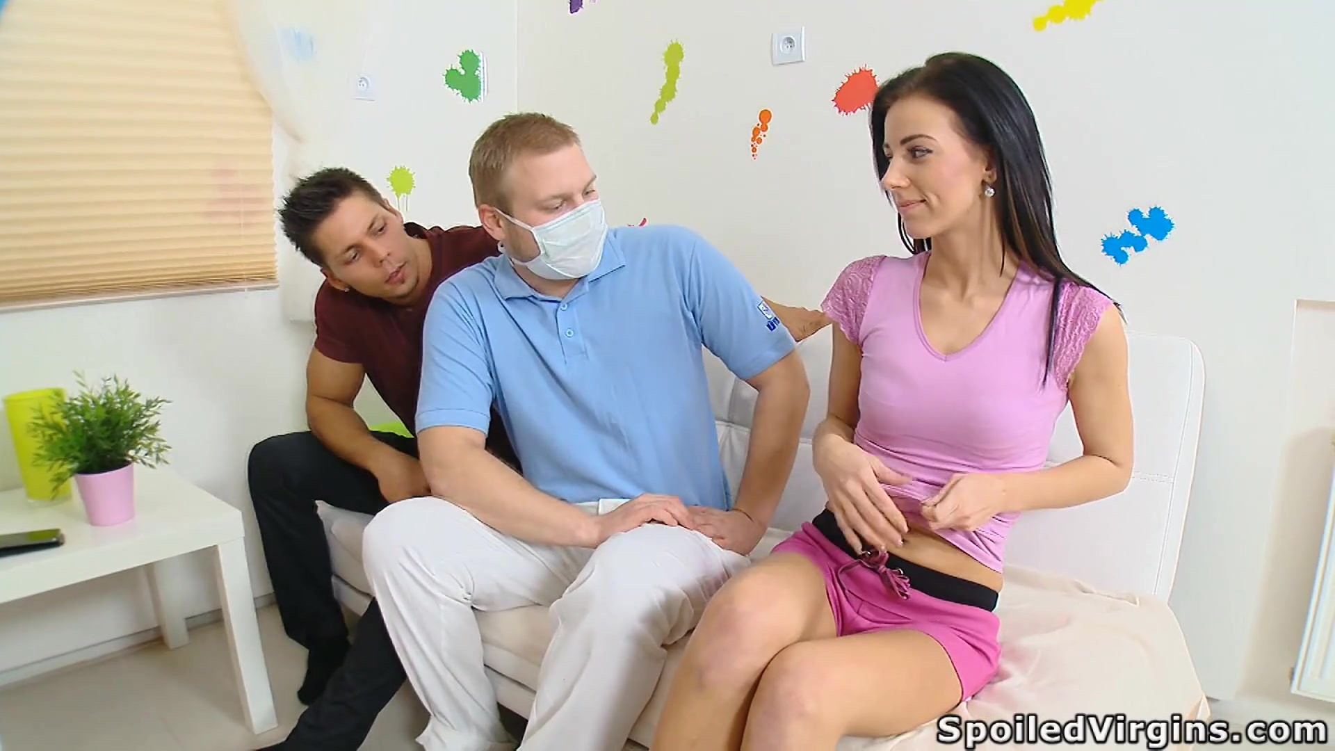 Kinky gynecologist enjoy watching how BF fucks virgin pussy of sexy brunette Mila