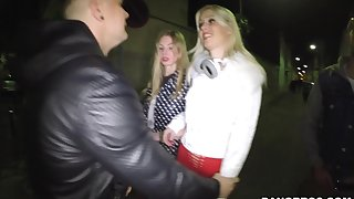 Blonde slut Lyanna Nilsson rides one dick while blowing another
