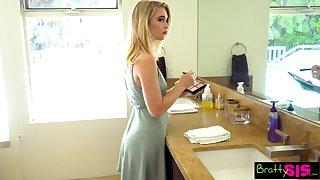 Whorish stepsister Anastasia Knight measures stepbrother's huge cock