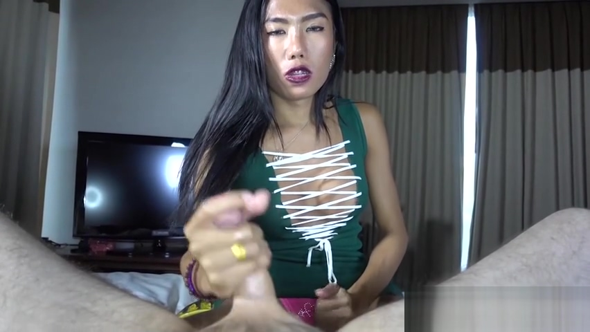 Asian brunette shemale played with a guys hard dick