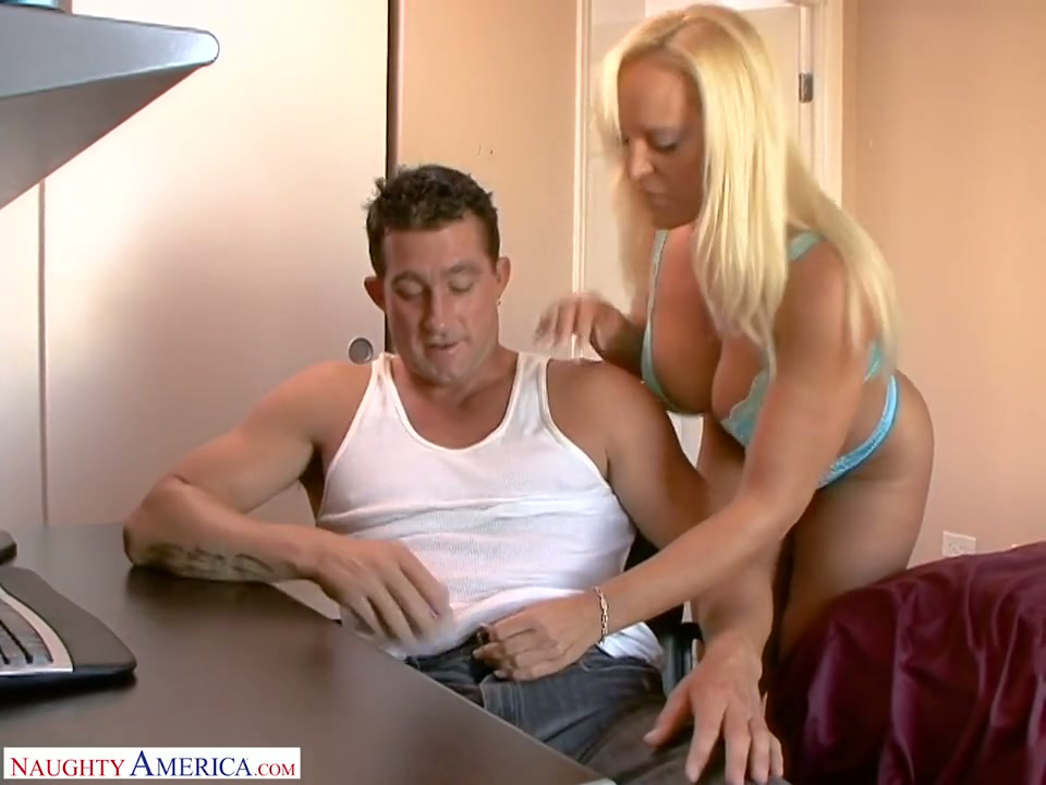Amazing huge boobed blonde cowgirl Alexis Golden happily rides fat cock