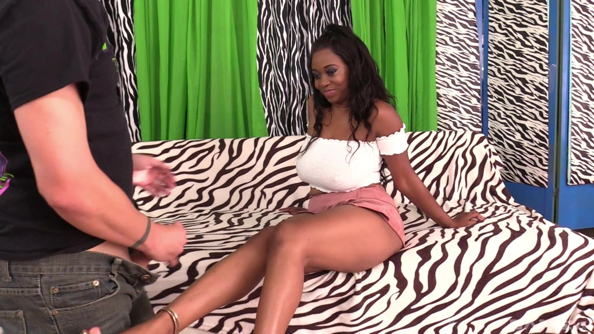 Chubby and busty ebony shows her fucking skills to her friend