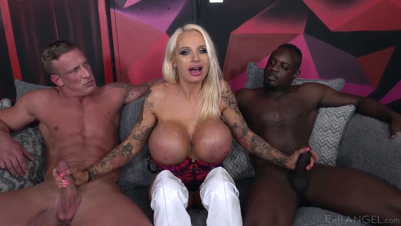 Some wild threesome with a huge breasted MILF Sophie Anderson